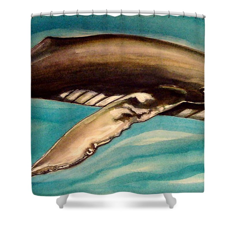 Whale Shower Curtain featuring the painting Life In The Ocean by Elizabeth Robinette Tyndall