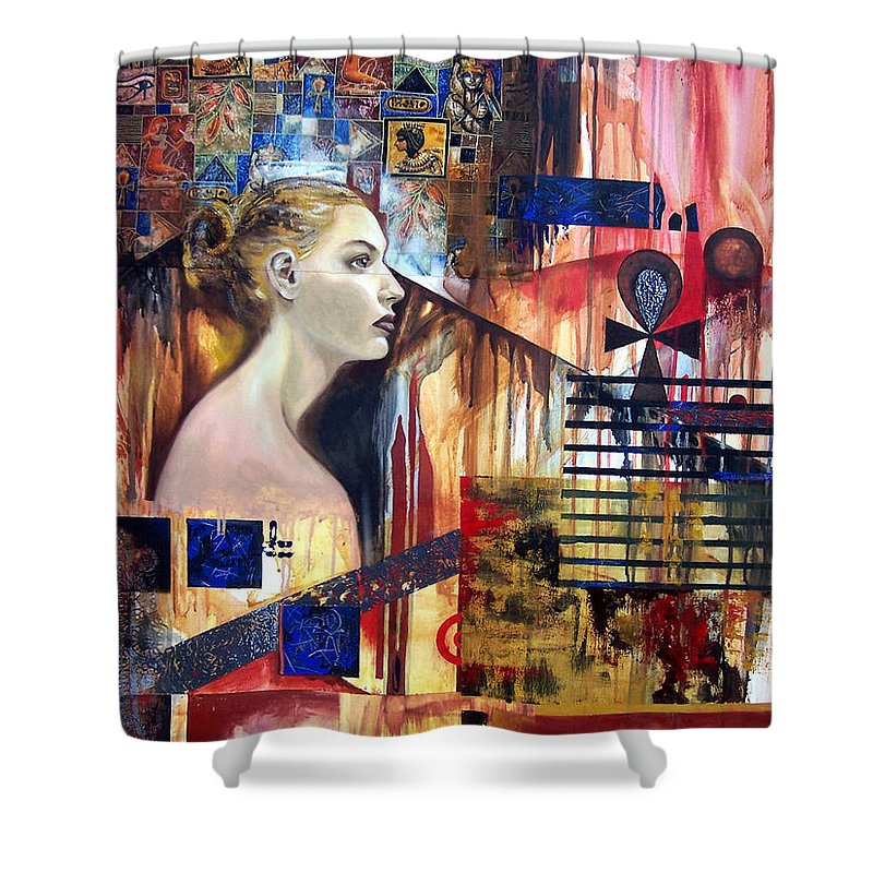 Profile Of A Woman Shower Curtain featuring the painting Life In The Past by Leyla Munteanu