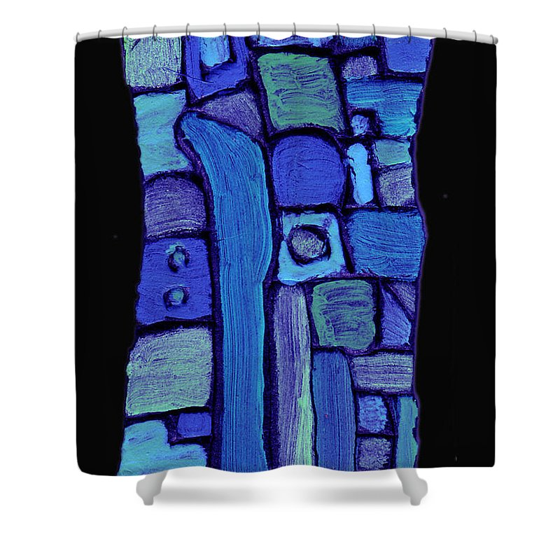 Abstract Shower Curtain featuring the painting Life In The Pond by Wayne Potrafka