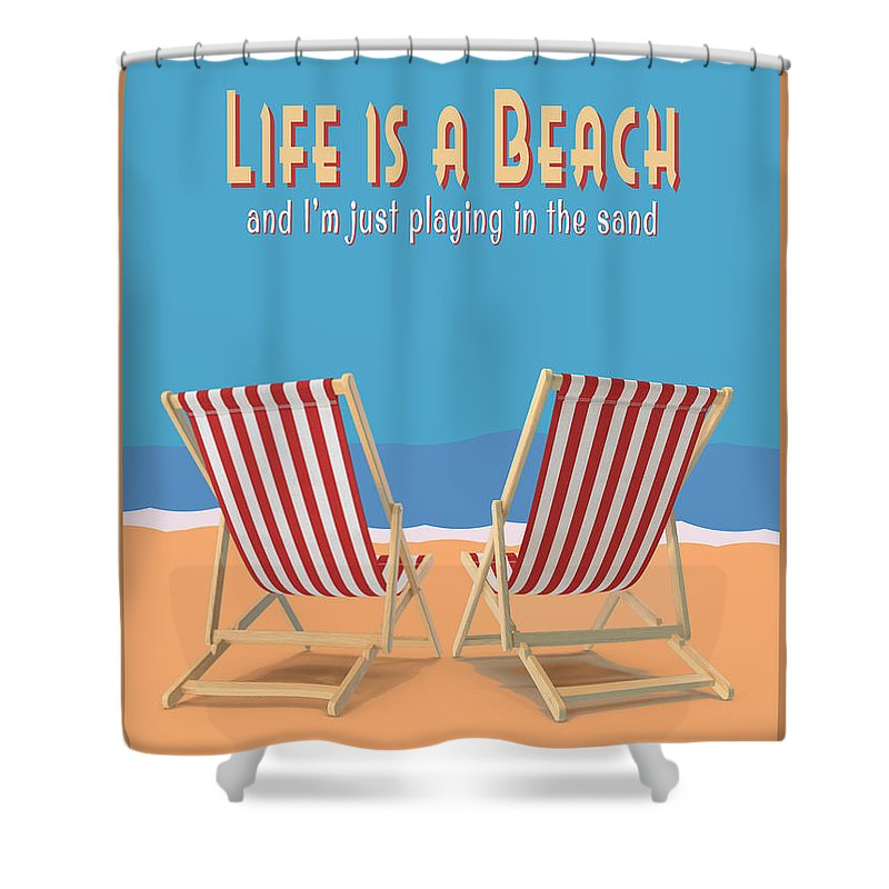 Life Is A Beach Vintage Poster Shower Curtain For Sale By Edward Fielding