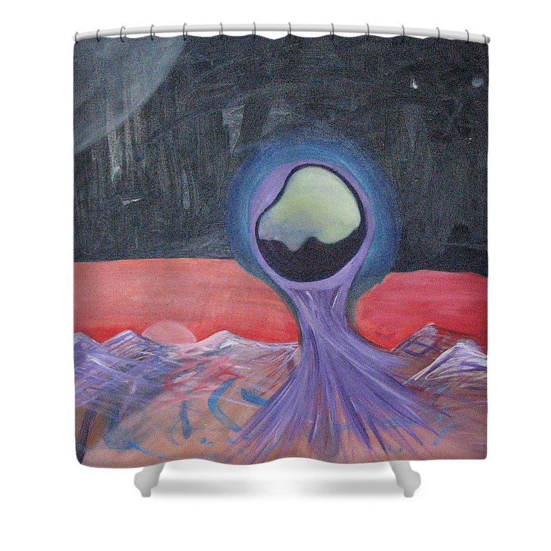 Oil Painting Shower Curtain featuring the painting Life On Another Planet I by Michael Mooney