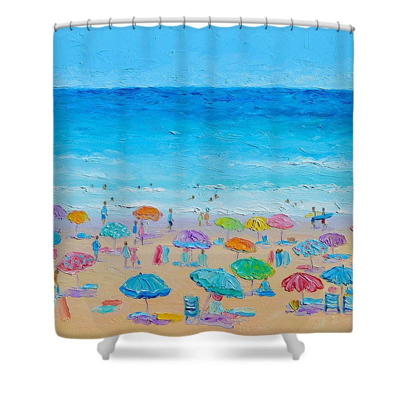 Beach Shower Curtain featuring the painting Life On The Beach by Jan Matson