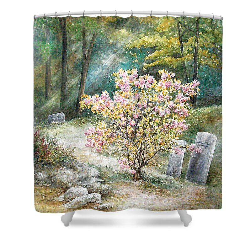 Landscape Shower Curtain featuring the painting Life by Valerie Meotti
