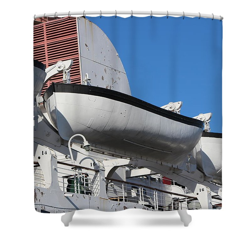 Nautical Shower Curtain featuring the photograph Lifeboat on Queen Mary by Colleen Cornelius