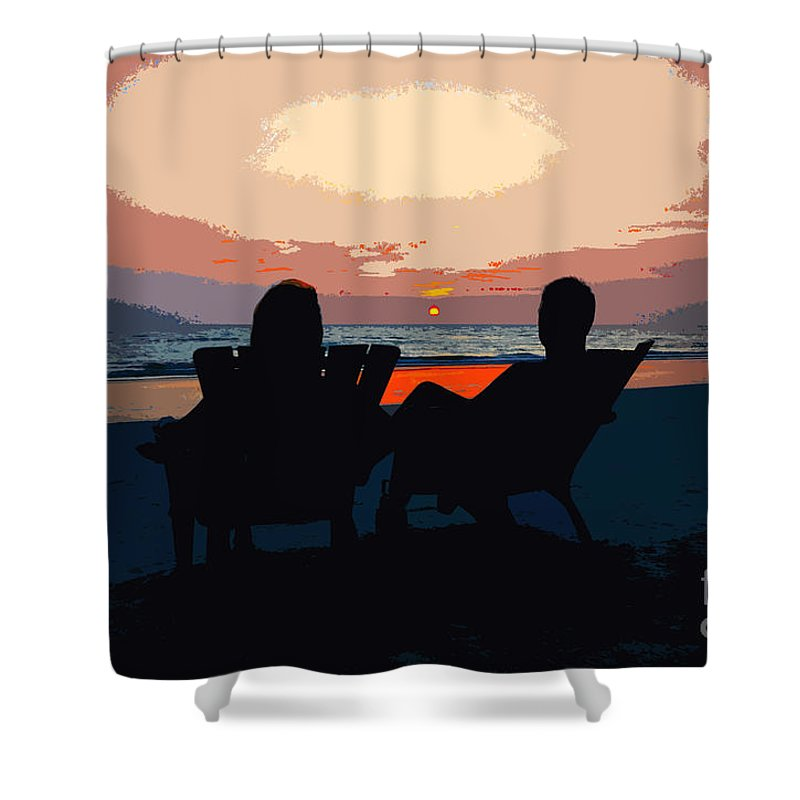 Beach Shower Curtain featuring the painting Life's A Beach by David Lee Thompson
