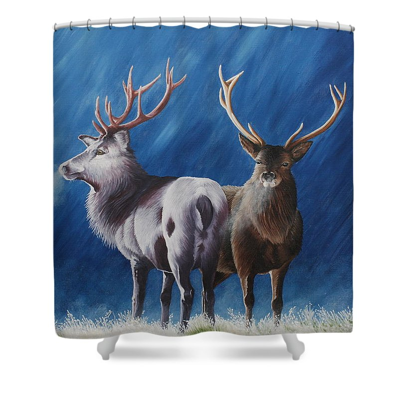 Portrait Shower Curtain featuring the painting Light And Dark Stags by Pauline Sharp