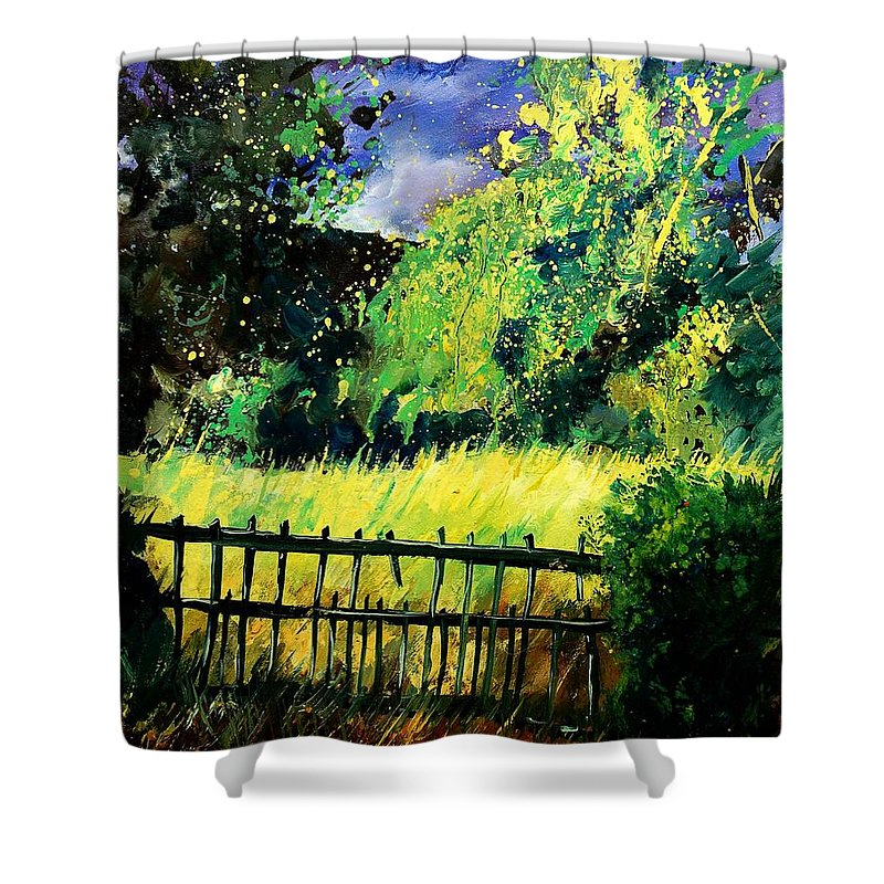 Spring Shower Curtain featuring the painting Light Before The Storm by Pol Ledent