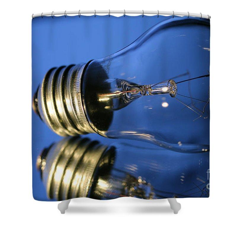 Light Bulb Shower Curtain featuring the photograph Light Bulb - Blue by Douglas Milligan