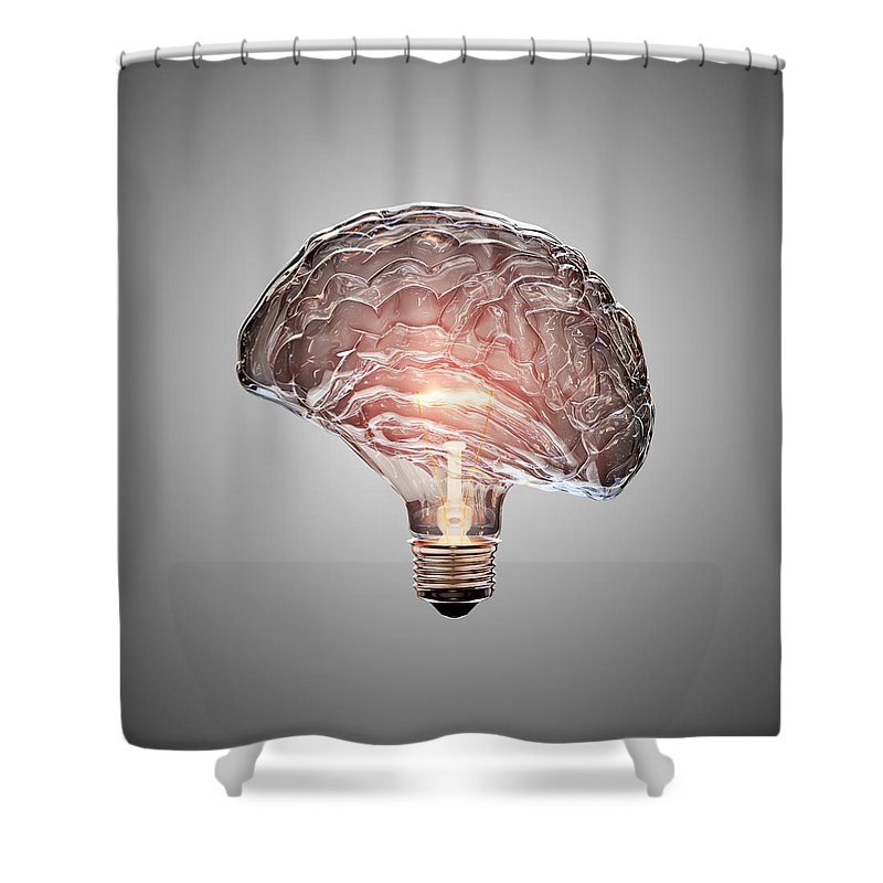 Light Shower Curtain featuring the photograph Light Bulb Brain by Johan Swanepoel