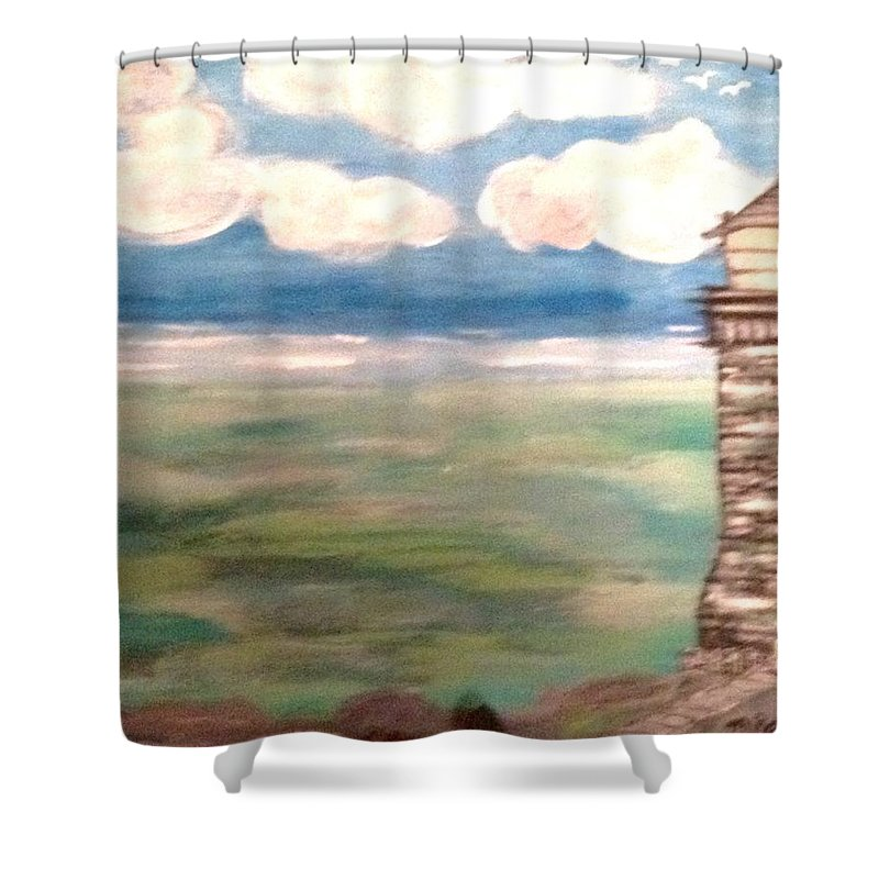 Abstract Shower Curtain featuring the painting Light House By The Sea by Michele Robb