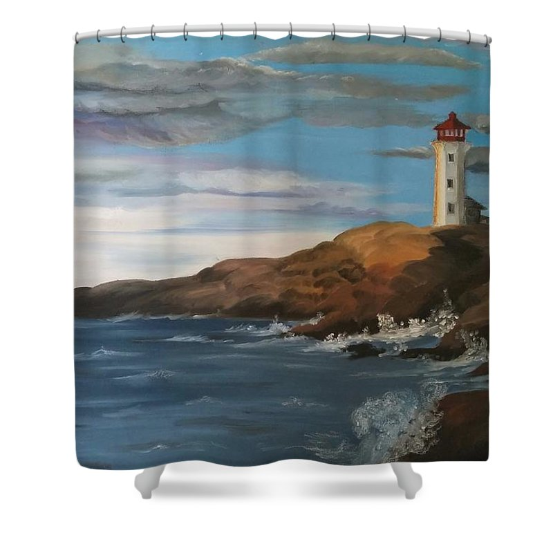 Landcape Shower Curtain featuring the painting Light House by Sarojinie De Silva