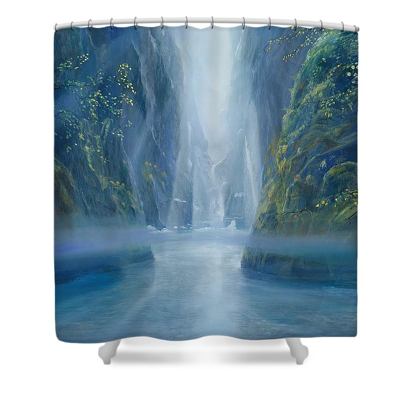 Blue Shower Curtain featuring the painting Light Idea by Silvian Sternhagel