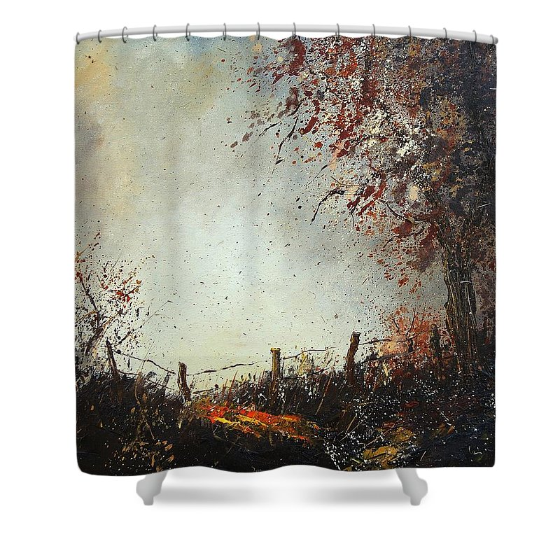 Tree Shower Curtain featuring the painting Light in Autumn by Pol Ledent