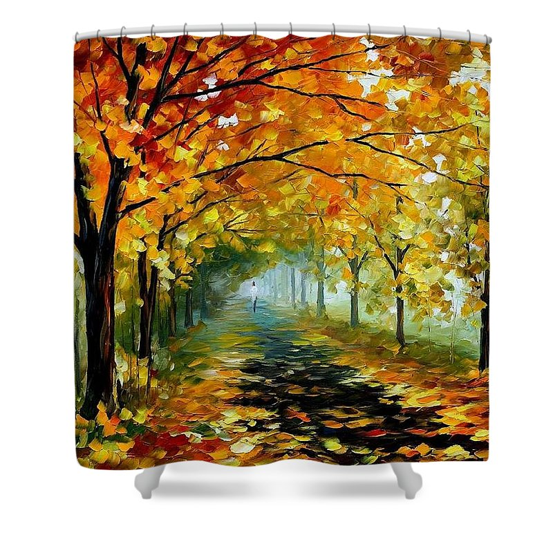 Afremov Shower Curtain featuring the painting Light In The Fog by Leonid Afremov