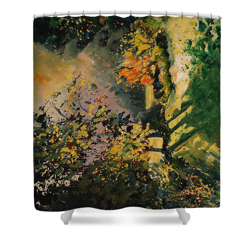River Shower Curtain featuring the painting Light In The Wood by Pol Ledent