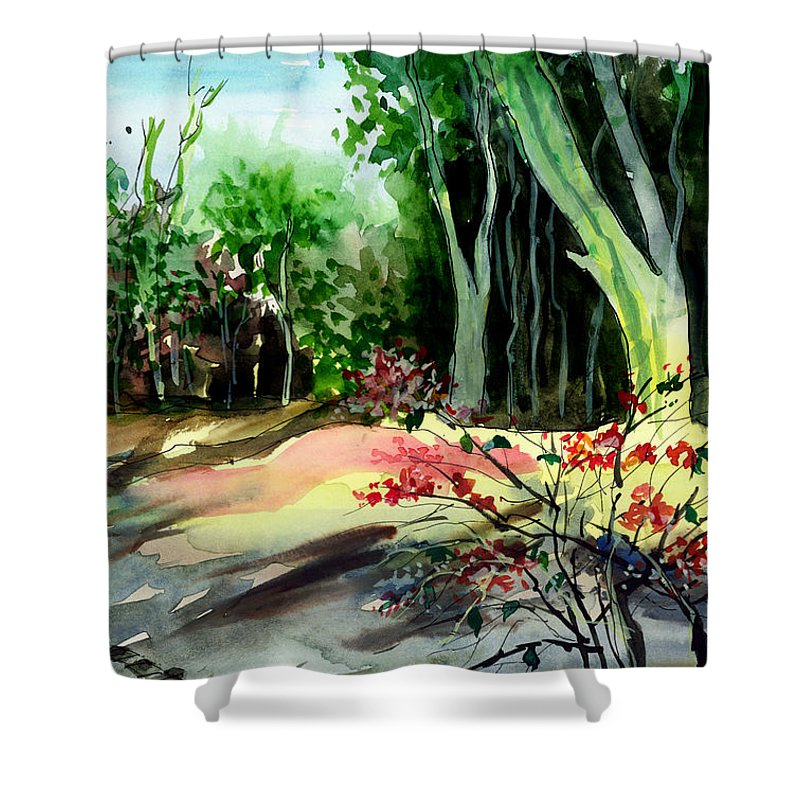 Watercolor Shower Curtain featuring the painting Light In The Woods by Anil Nene