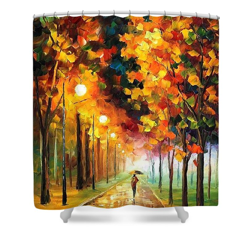 Afremov Shower Curtain featuring the painting Light Of Autumn by Leonid Afremov