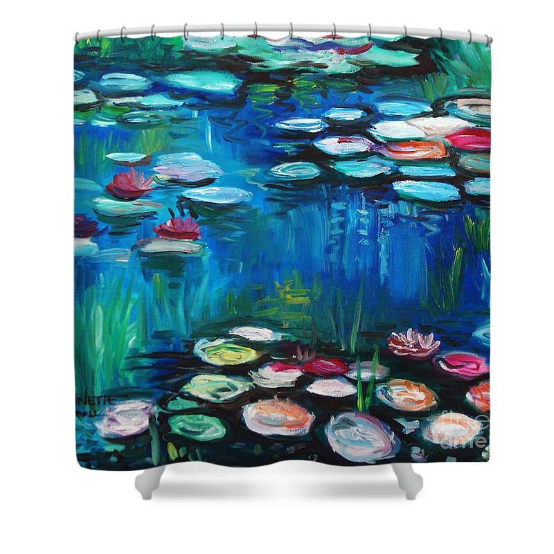 Water Lillies Shower Curtain featuring the painting Light Of The Lillies by Elizabeth Robinette Tyndall