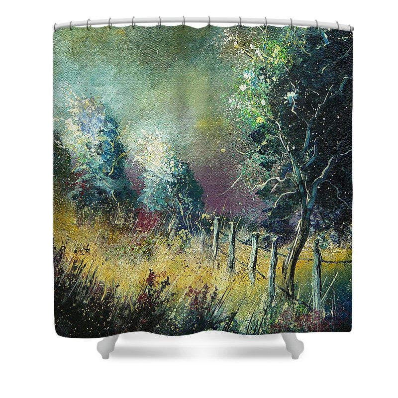 Landscape Shower Curtain featuring the painting Light On Trees by Pol Ledent