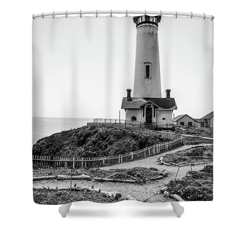 Light House Shower Curtain featuring the photograph Light Tower Of The Pacific by Moshe Levis