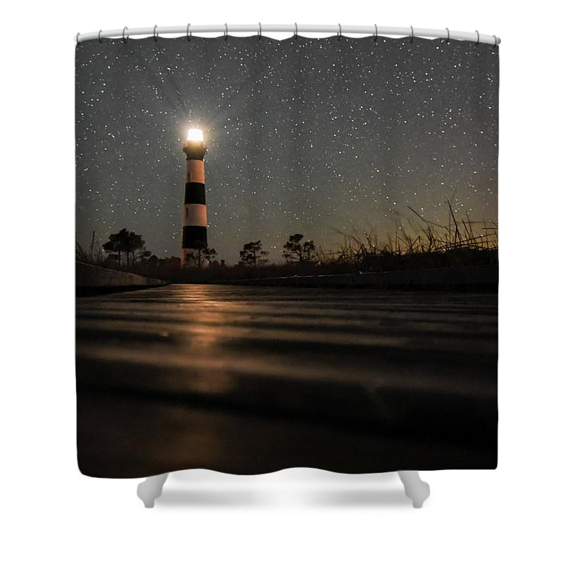 Lighthouse Shower Curtain featuring the photograph Light Up The Path by Jeremy Clinard