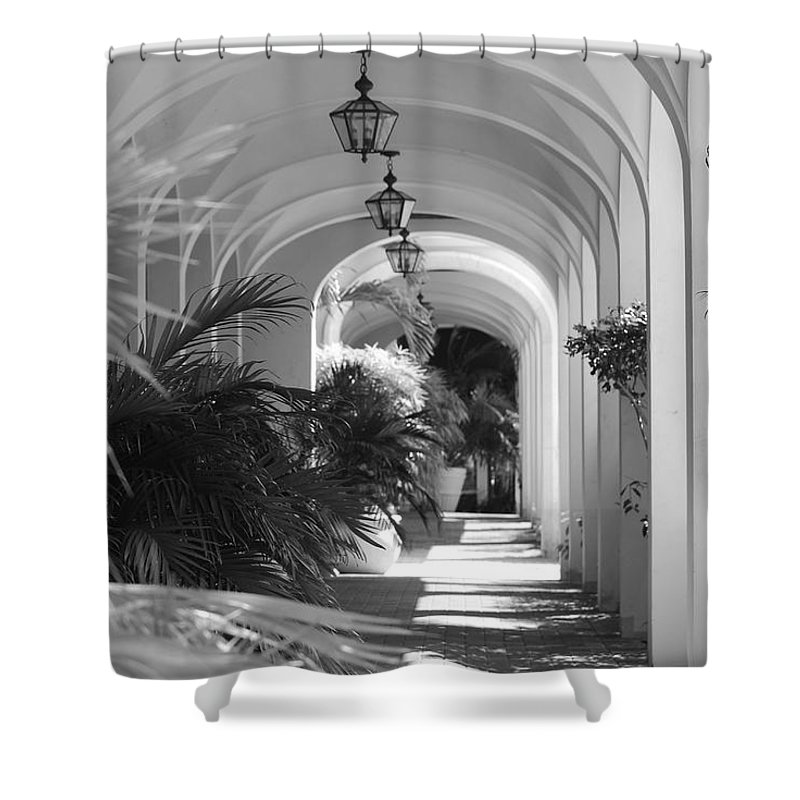 Architecture Shower Curtain featuring the photograph Lighted Arches by Rob Hans