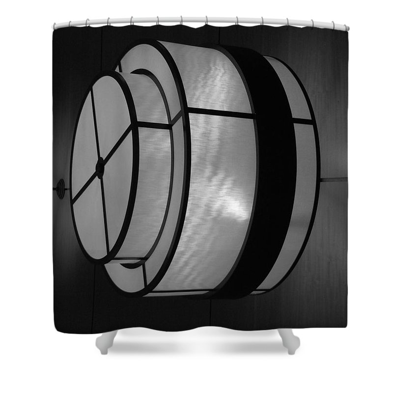 Black And White Shower Curtain featuring the photograph Lighted Wall In Black And White by Rob Hans