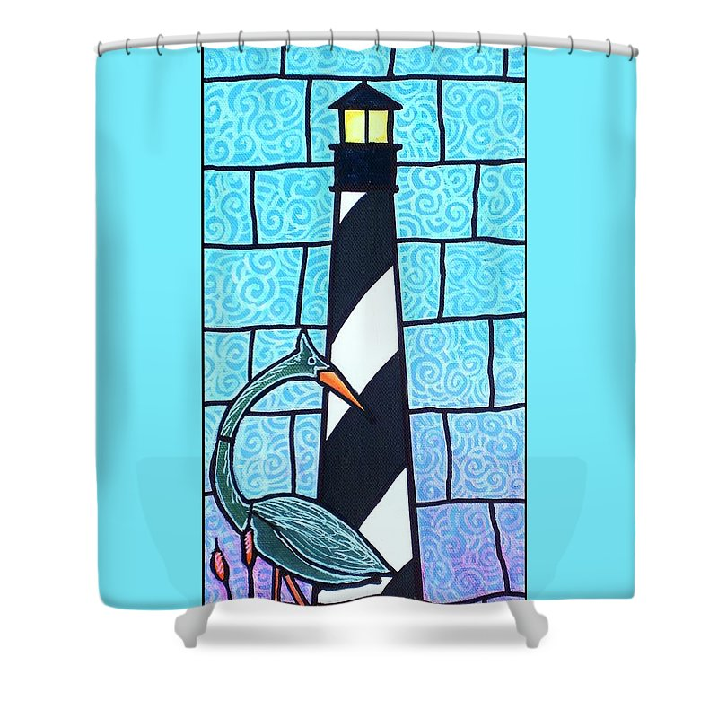 Summer Shower Curtain featuring the painting Lighthouse And Heron by Jim Harris