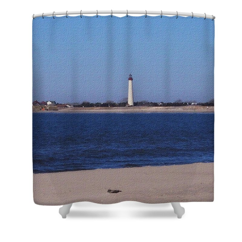 Lighthouse Shower Curtain featuring the photograph Lighthouse At The Point by Pharris Art