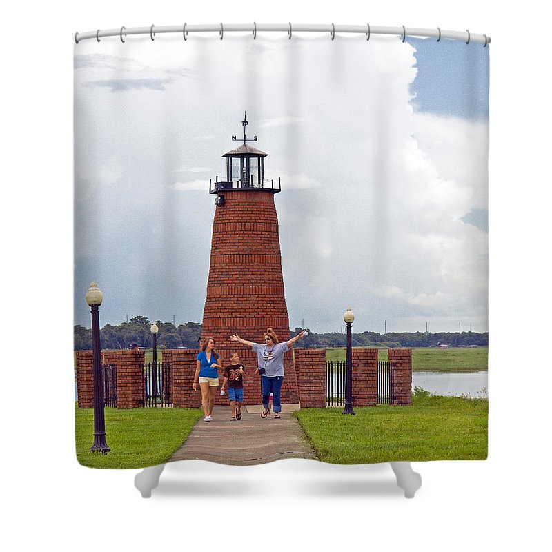 Florida; Kissimmee; Toho; Tohopekaliga; Port; Light; Lighthouse; House; Beacon; Brick; Central; Harb Shower Curtain featuring the photograph Lighthouse At The Port Of Kissimmee On Lake Tohopekaliga In Central Florida by Allan Hughes