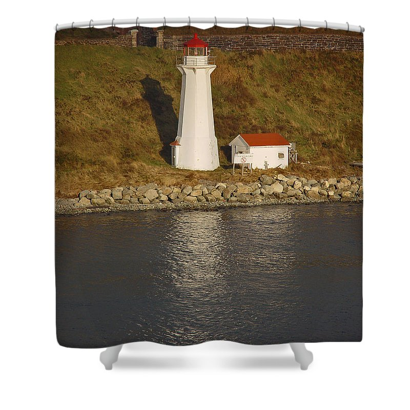 Lighthouse Shower Curtain featuring the photograph Lighthouse In Maine by Heather Coen