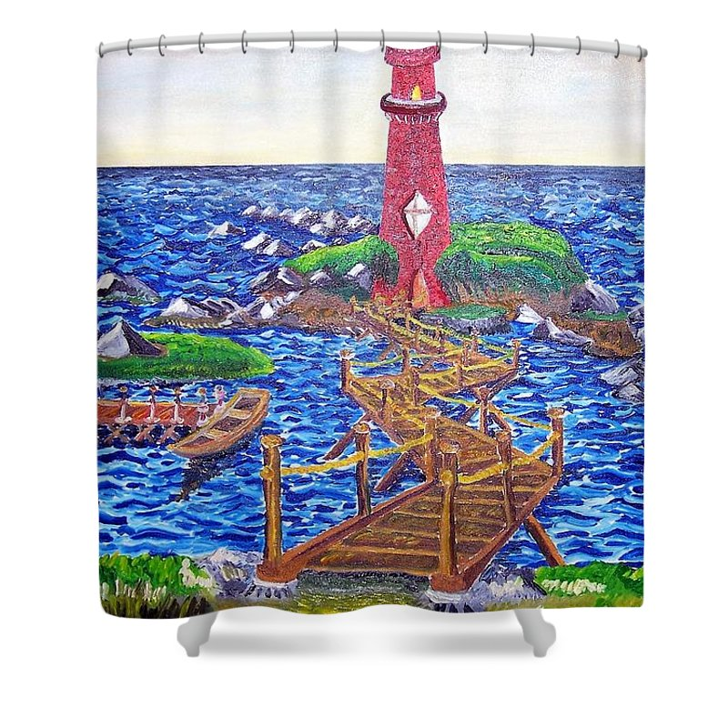 Lighthouse Shower Curtain featuring the painting Lighthouse Island by Timothy Michael Foley