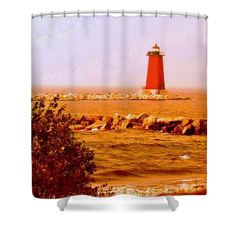 Shower Curtain featuring the photograph Lighthouse Manistique Retro Pano by Daniel Thompson