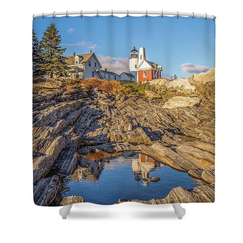 Pemiquid Lighthouse Shower Curtain featuring the photograph Lighthouse Reflection by Brenda Gooder