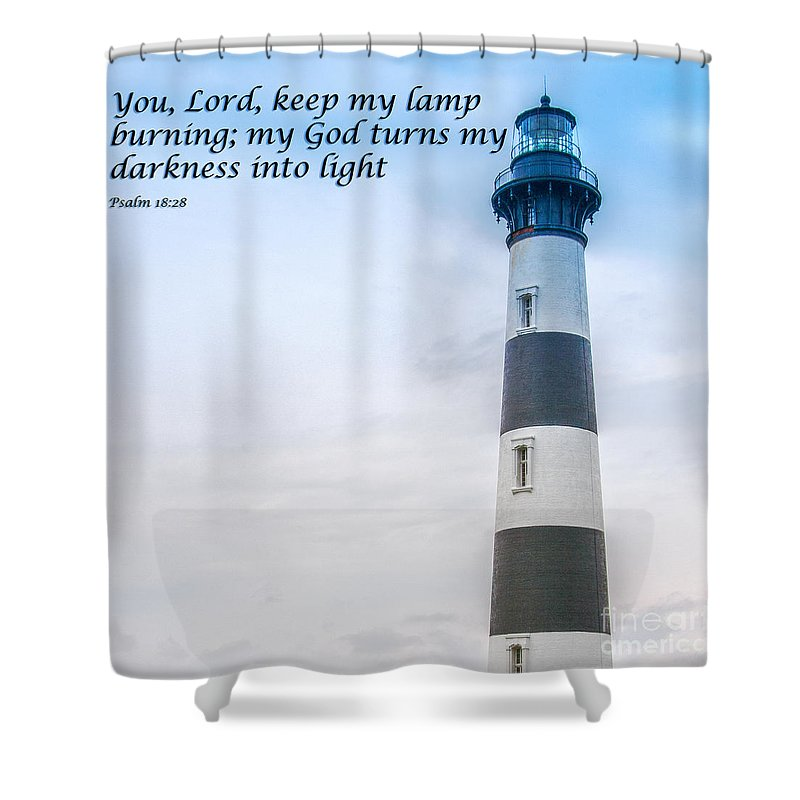Lighthouse Scripture Verse Shower Curtain For Sale By Randy Steele