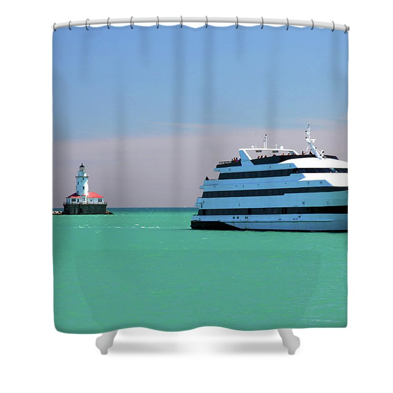 Lighthouse Shower Curtain featuring the photograph Lighthouse Ship Chicago Navy Pier by Patrick Malon