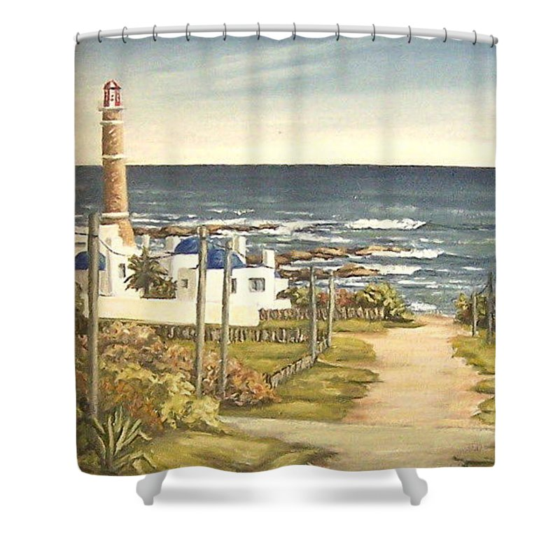 Lighthouse Seascape Sea Water Uruguay Shower Curtain featuring the painting Lighthouse Uruguay by Natalia Tejera