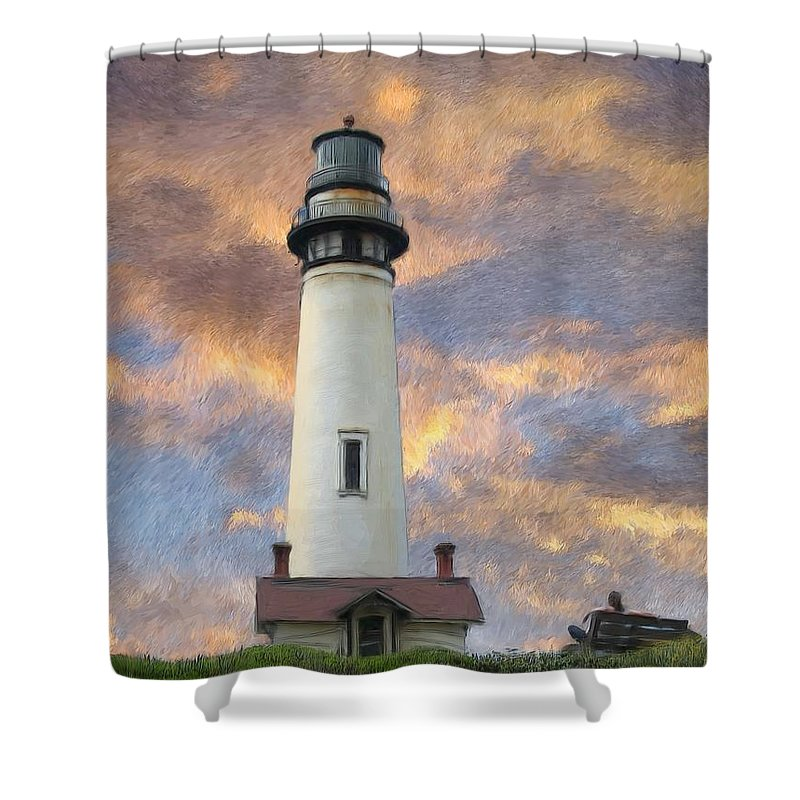 Lighthouse Art Shower Curtain featuring the digital art Lighthouse Visitors by Snake Jagger