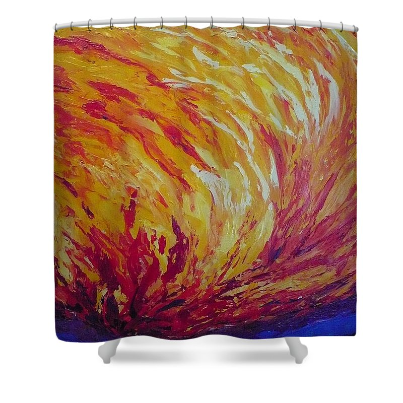Fire Shower Curtain featuring the painting Lighting A Match by Ericka Herazo