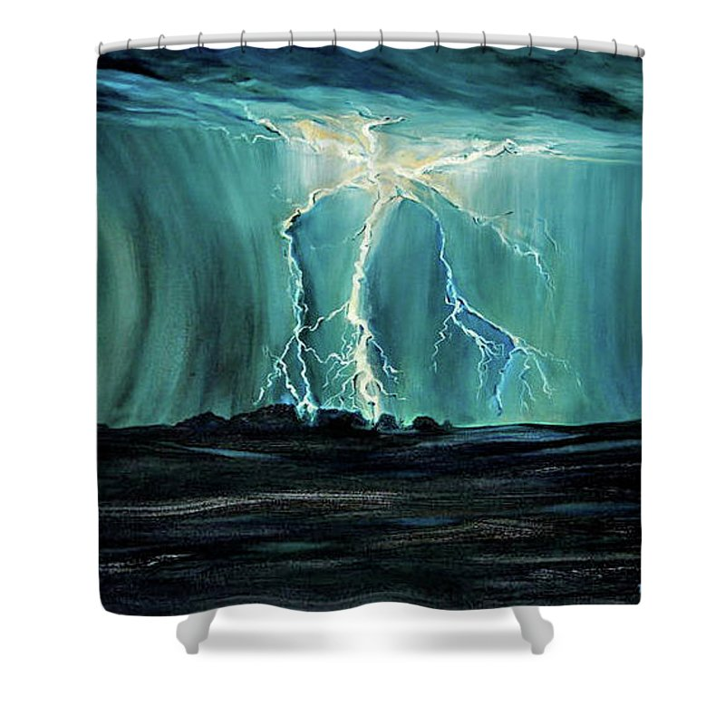 Lightning Shower Curtain featuring the painting Lightning On The Prairie by Jennifer Christenson