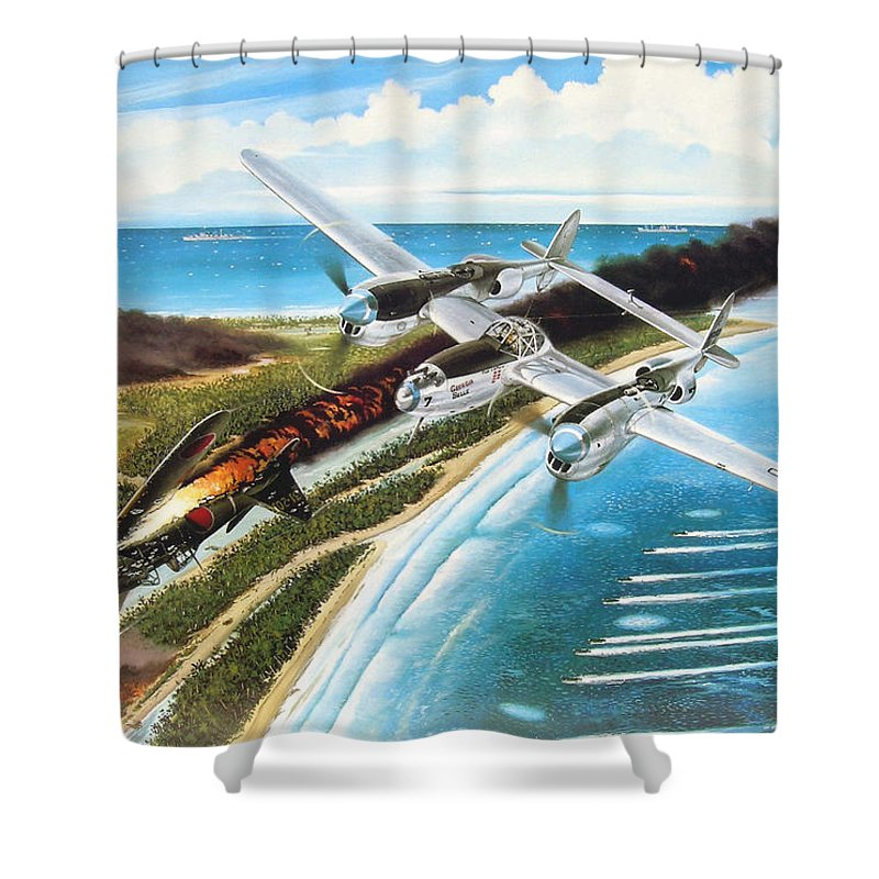 Aviation Shower Curtain featuring the painting Lightning Over Mindoro by Marc Stewart