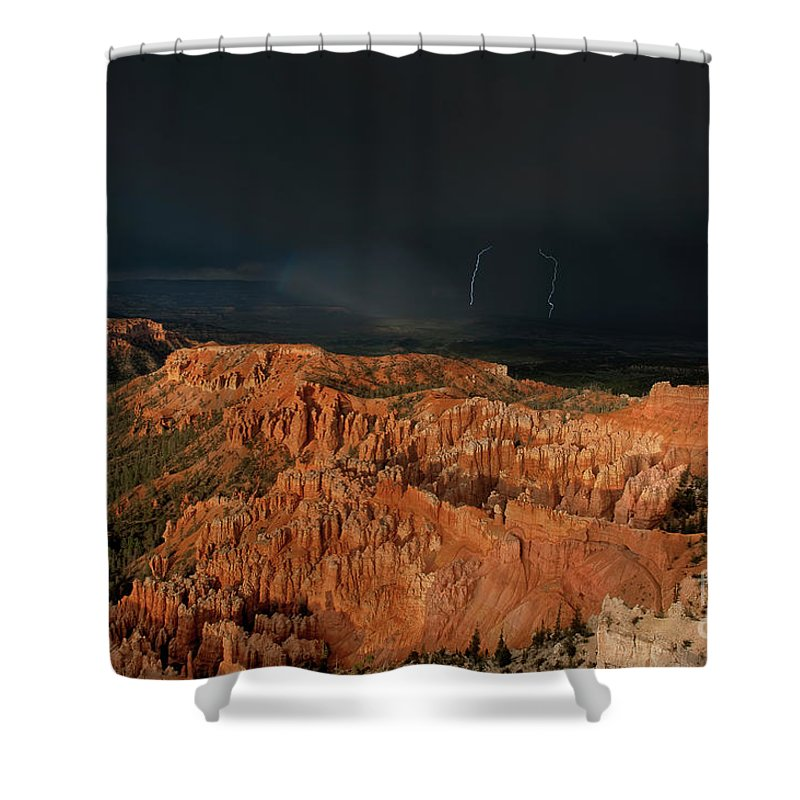 Dave Welling Shower Curtain featuring the photograph Lightning Rainbow Over Hoodoos Bryce Canyon National Park Utah by Dave Welling