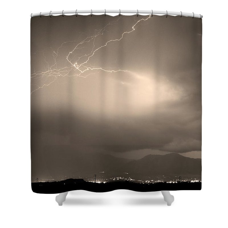 Lightning Shower Curtain featuring the photograph Lightning Strikes Over Boulder Colorado Sepia by James BO Insogna