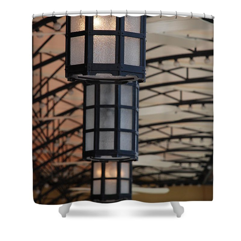 Architecture Shower Curtain featuring the photograph Lights At City Place by Rob Hans