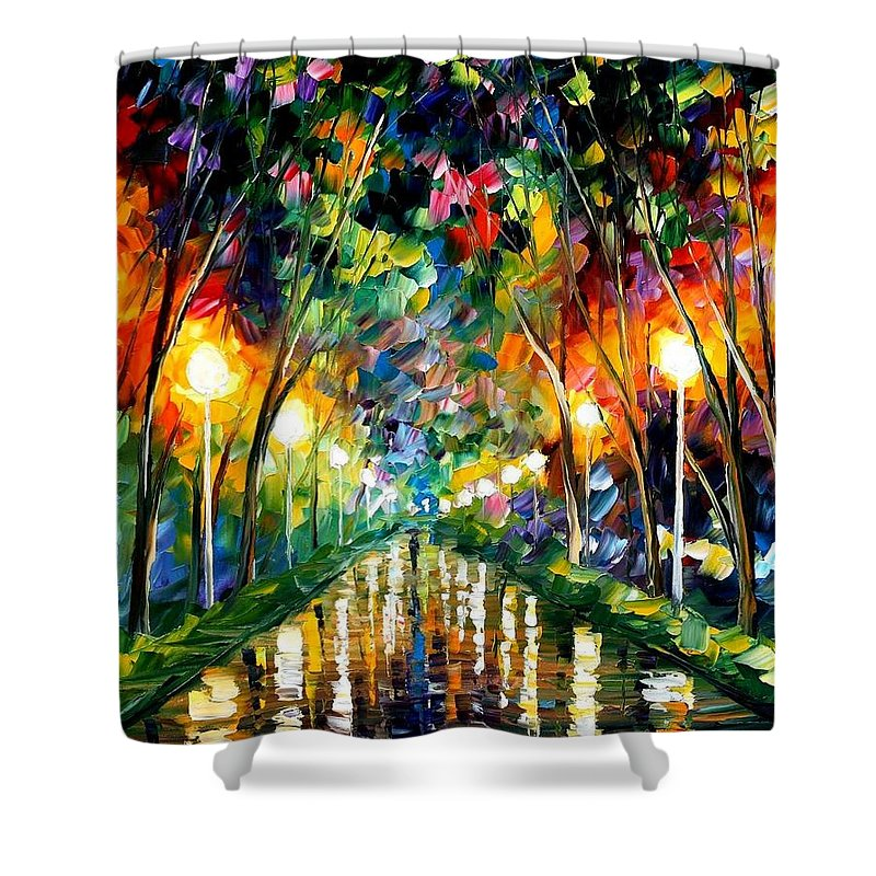 Afremov Shower Curtain featuring the painting Lights Of Hope by Leonid Afremov