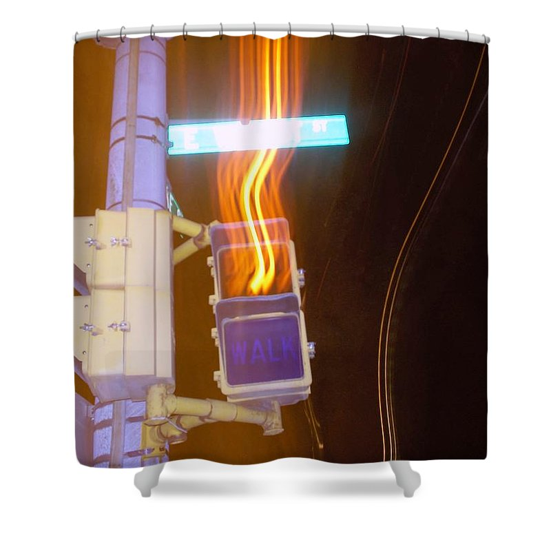 Photograph Shower Curtain featuring the photograph Lights That Eat Do Not Walk Signals by Thomas Valentine