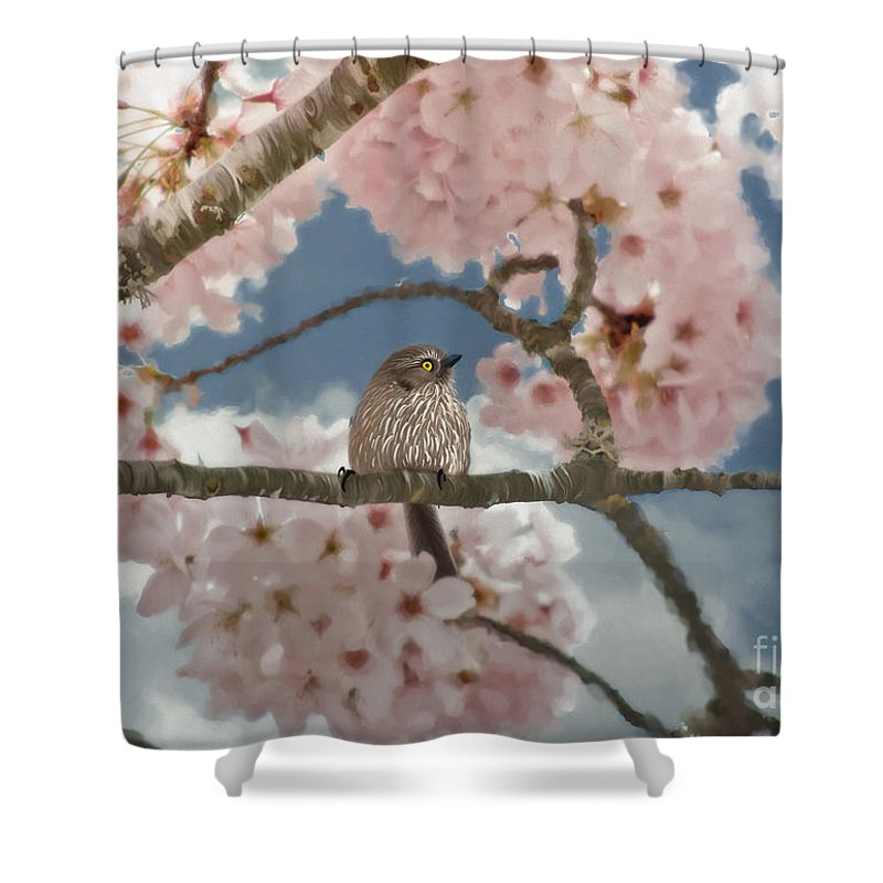Lil Bushtit Shower Curtain featuring the painting Lil Bushtit by Beve Brown-Clark Photography