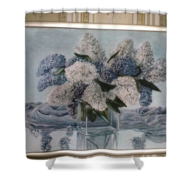 Lilac Shower Curtain featuring the painting Lilac by Artyom Ukhov