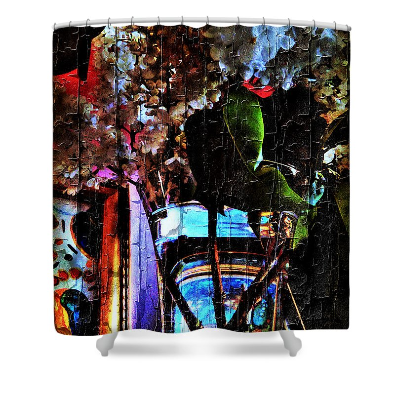 Lilac Shower Curtain featuring the mixed media Lilac Brimmed With Dew by Jolanta Anna Karolska