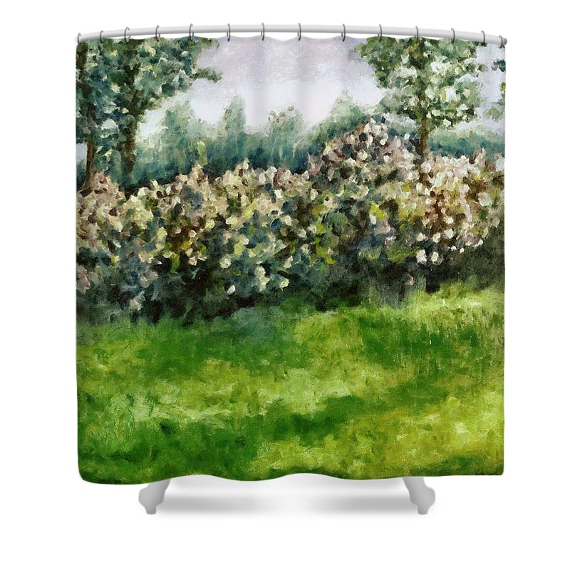 Spring Shower Curtain featuring the painting Lilac Bushes In Springtime by Michelle Calkins